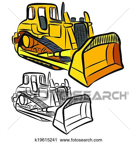 clipart of bulldozer k19615241 search clip art illustration rh fotosearch com caterpillar bulldozer clipart bulldozer clipart free