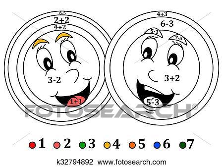 Clip Art Colorido Contar Para Poco Niños Sonriente