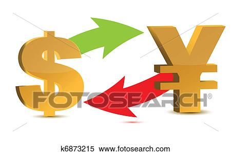 Currency Exchange Dollar And Yen Isolated On White Background
