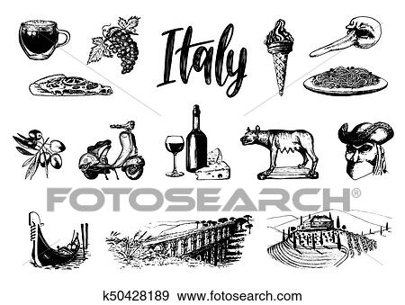 Clip Art Of Italian Set Of Sketches Hand Drawn Illustrations Of