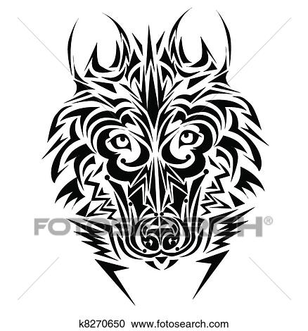 loup tribal tatouage style clipart k8270650 fotosearch. Black Bedroom Furniture Sets. Home Design Ideas