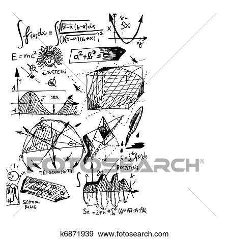 Clip Art Of Math Symbols K6871939 Search Clipart Illustration