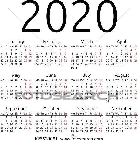 Vector De Calendario 2020.Simple Vector Calendar 2020 Clipart