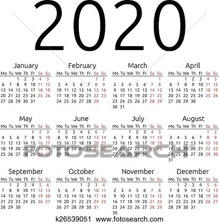 Ano 2020 Calendario.Simples Vetorial Calendario 2020 Clipart