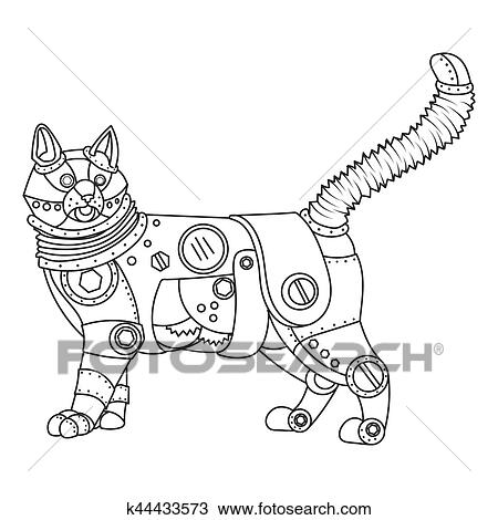 Steampunk style cat coloring book vector Clipart   k44433573 ...