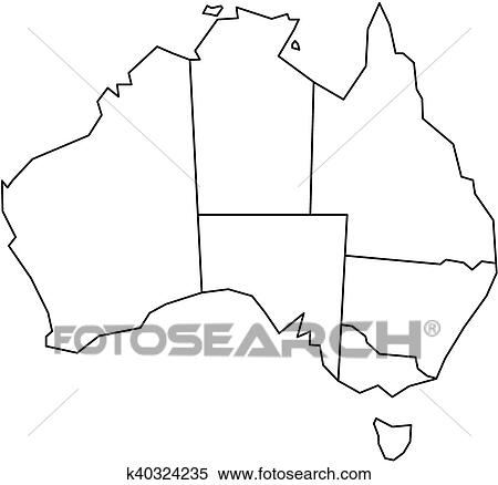 Map Of Australia With State Borders.Blind Map Of Australia Clipart