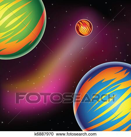 clipart of colorful fantasy planets k6887970 search clip art
