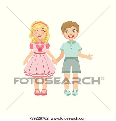 Clipart Garcon Fille Amoureux Tenant Mains K39229762