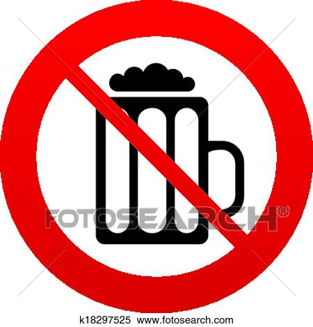 Clipart Of Glass Of Beer Sign Icon No Alcohol Drink Symbol