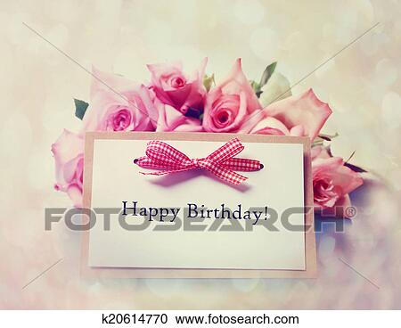 Stock Photography Of Happy Birthday Card With Retro Pink Roses