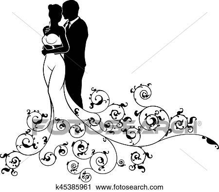 Clipart sposa sposo coppia matrimonio silhouette for Disegni sposi stilizzati