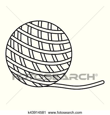 clipart of yarn ball toy for cat icon outline style k43914581