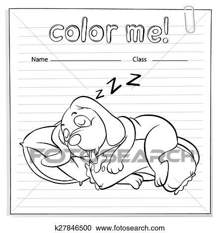 Clipart - a, arbeitsblatt, mit, a, hund, eingeschlafen k27846500 ...