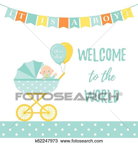 Baby Shower Boy Card Vector Illustration Blue Banner With Pram Clipart K62247973 Fotosearch
