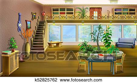 Cartoon Interior Of The Living Room Drawing K52825762 Fotosearch
