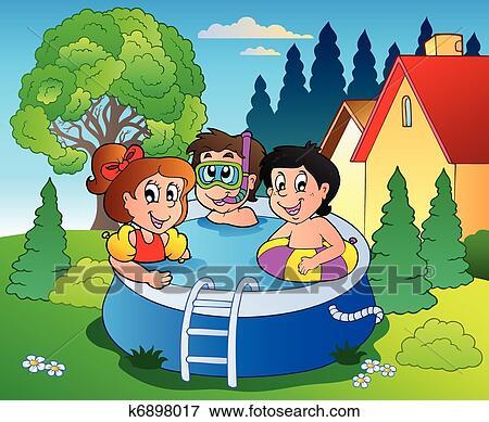 Clipart jardin piscine et dessin anim gosses - Clipart piscine ...