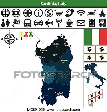 Carte Italie Et Sardaigne.Clipart Sardaigne A Regions Italie K43891026 Recherchez Des