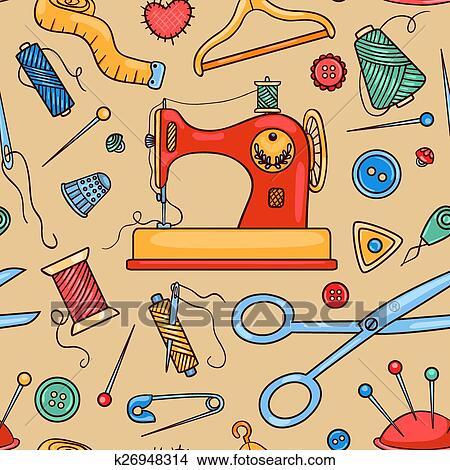 Clipart - seamless, nähen muster k26948314 - Suche Clip Art ...