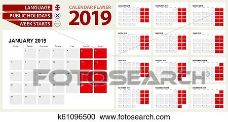 January 2019. Calendar Planner For 2019 Year. Vector Design Print.. Royalty  Free Cliparts, Vectors, And Stock Illustration. Image 97686373.