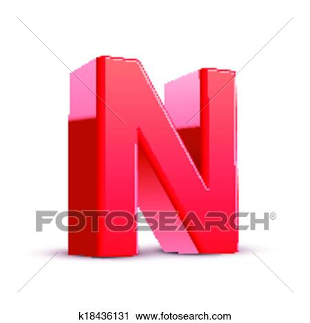 Clipart Of 3d Red Letter N K18436131 Search Clip Art Illustration