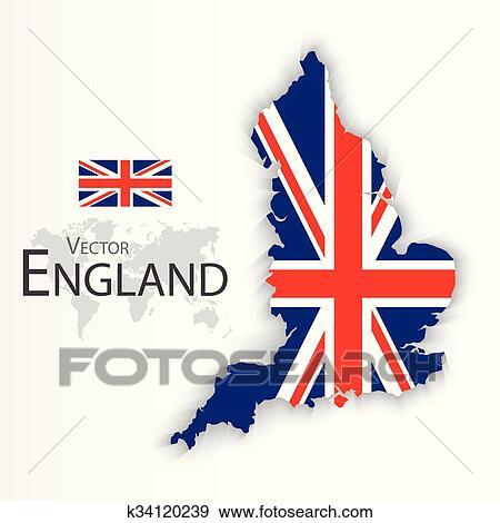 Carte Touristique Kent Angleterre.Angleterre Drapeau Et Carte Royaume Uni De Grande Bretagne