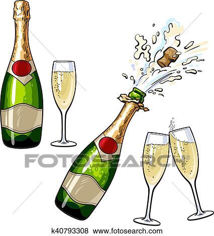 Bouteille De Champagne Dessin clipart - fermé, ouvert, bouteille champagne, et, lunettes k40793308