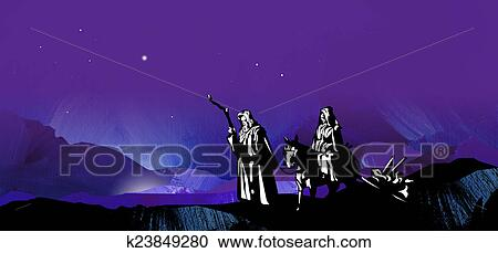 graphic illustration of dark starry christmas night composed of textured oil paint background with glowing stars and hand drawn silhouette of mary and - Starry Christmas