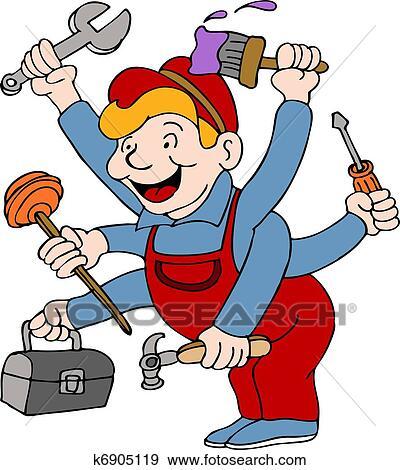clip art of handyman k6905119 search clipart illustration posters rh fotosearch com handyman clip art graphics handyman clip art free download