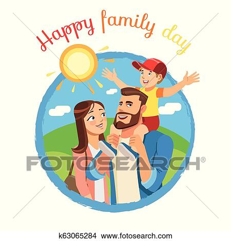 Happy Family Day Cartoon Vector Icon Or Concept Clipart K63065284 Fotosearch