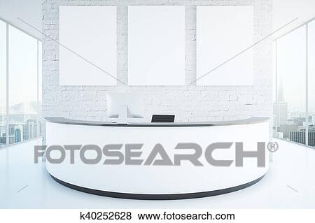 Modern reception desk in room Stock Photo