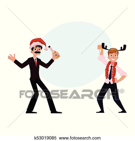 Christmas Party Images Cartoon.Two Men Businessmen Having Fun Dancing At Corporate Christmas Party Clipart