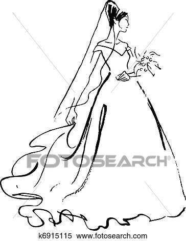 clipart of bride drawing k6915115 search clip art illustration rh fotosearch com clipart bride clip art bridge game