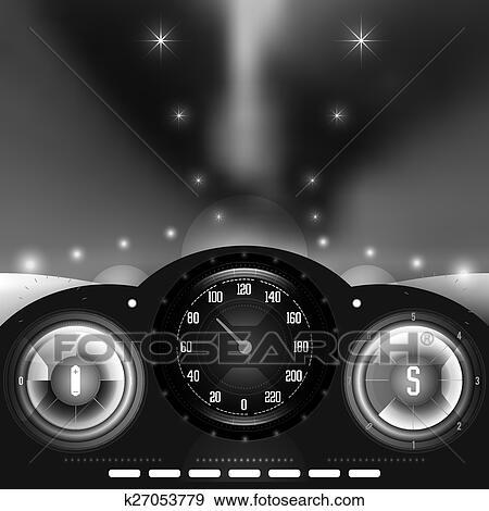 Clipart Dashboard En Vaag Nacht Lichten K27053779 Zoek