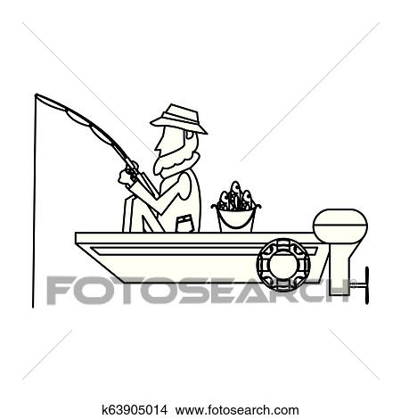 Fisherman In Boat In Black And White Clipart K63905014 Fotosearch