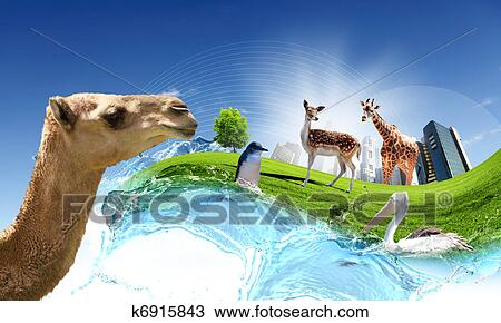 Drawing Of Green World With Different Animals Collage K6915843