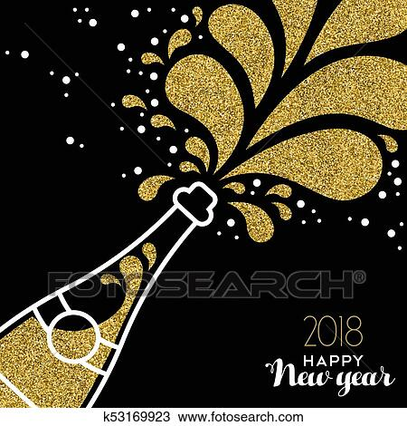 clipart happy new year 2018 gold glitter bottle splash fotosearch search clip art