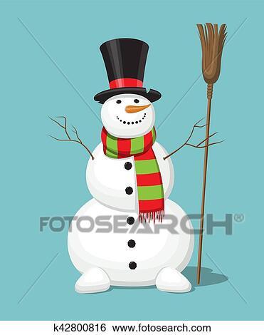 Clipart no l bonhomme de neige isol sur arri re - Clipart bonhomme de neige ...