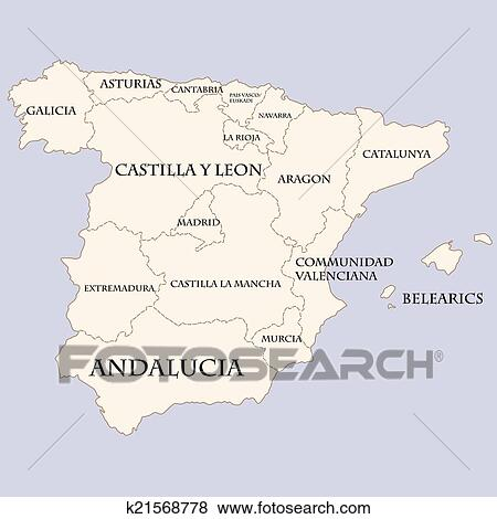 Spain map with regions names Clip Art | k21568778 | Fotosearch