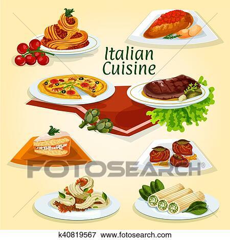 Wloska Kuchnia Obiad Ikona Z Ludowe Polmiski Clip Art