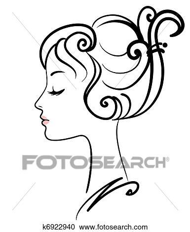 beautiful girl face vector illustration clipart  k6922940