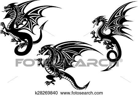 Clipart of Black flying dragons tattoo design k28269840 ... Tattoo Artist Clipart