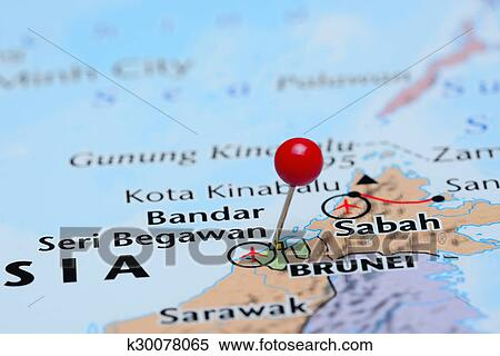 Stock Image Of Brunei Pinned On A Map Of Asia K30078065 Search