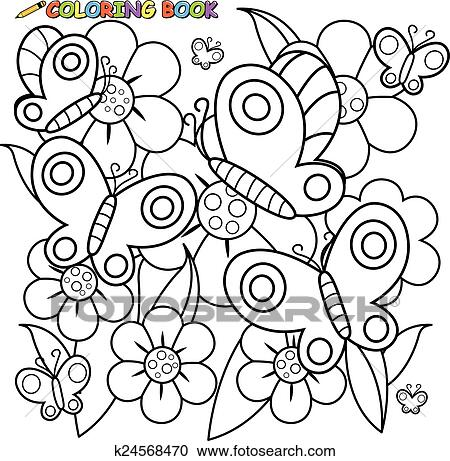 Coloring page butterflies flowers Clipart   k24568470   Fotosearch