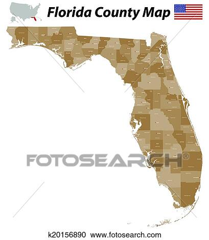 Florida By County Map.Florida County Map Clipart