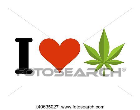 Clip Art Of I Love Drugs Heart And Marijuana Leaf Emblem For Fans