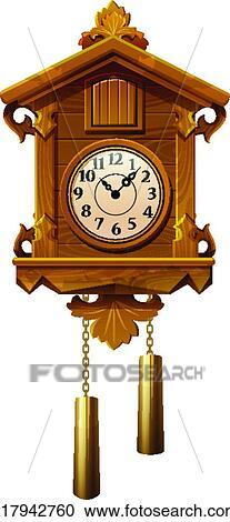 Welp Ouderwetse, van hout koekoek klokken Clipart | k17942760 | Fotosearch PX-53