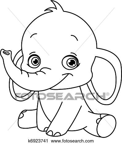 Outlined Baby Elephant Clipart