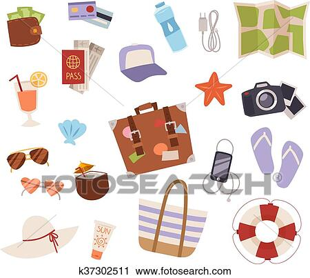 Summer symbols vector icons  Clipart