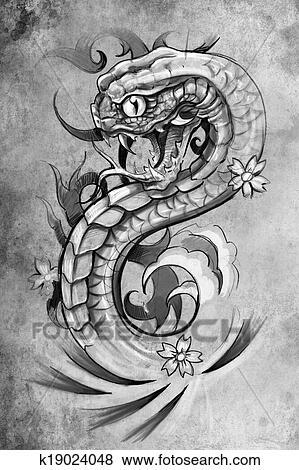 Images Tatouage Serpent Illustration Fait Main Dessiner Sur