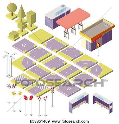 Vector isometric city constructor with 3d elements Clip Art